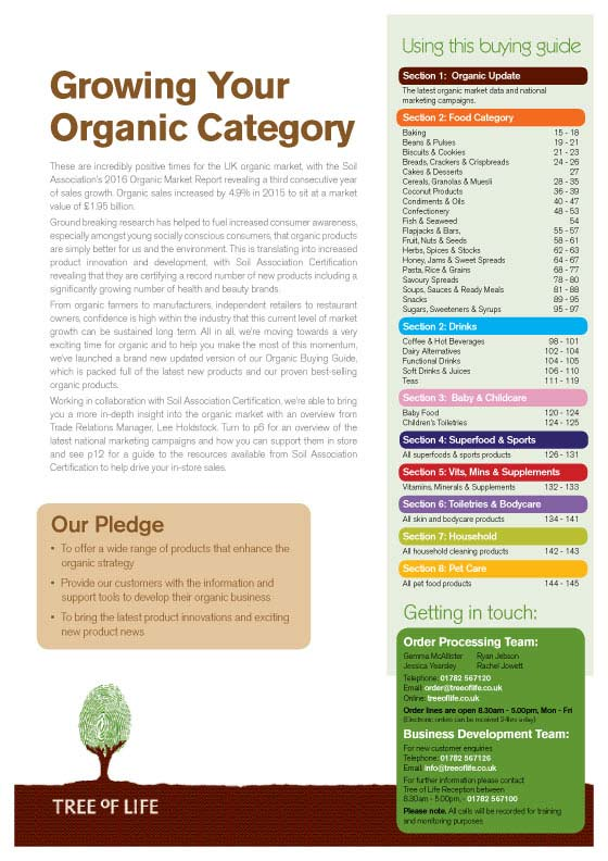 Organic Buying Guide contents page